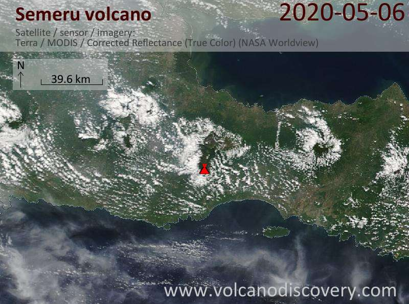 Satellitenbild des Semeru Vulkans am  6 May 2020
