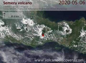 Satellite image of Semeru volcano on  6 May 2020