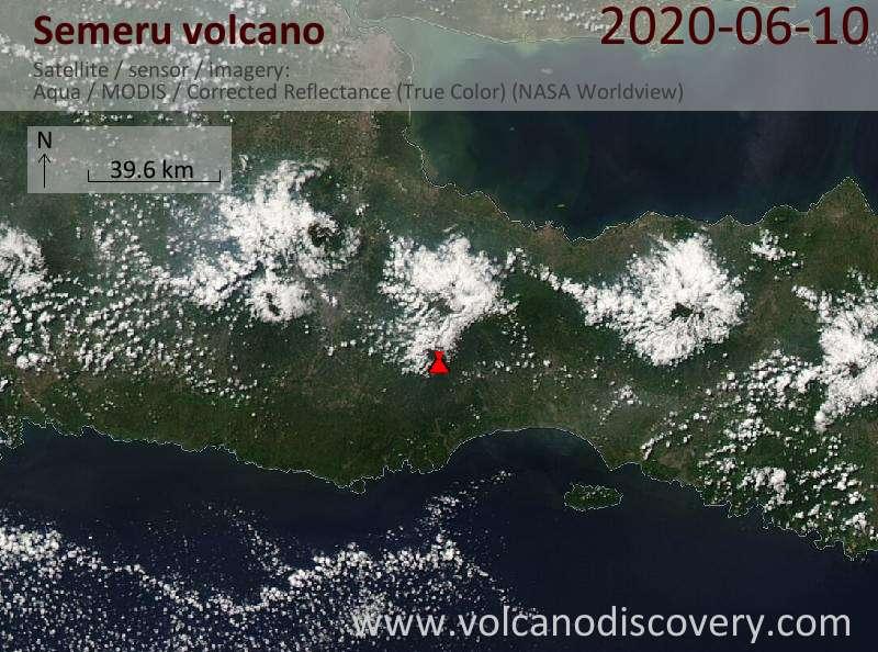 Спутниковое изображение вулкана Semeru 10 Jun 2020