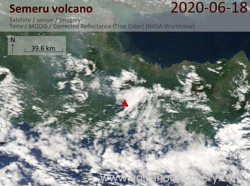 Спутниковое изображение вулкана Semeru 18 Jun 2020