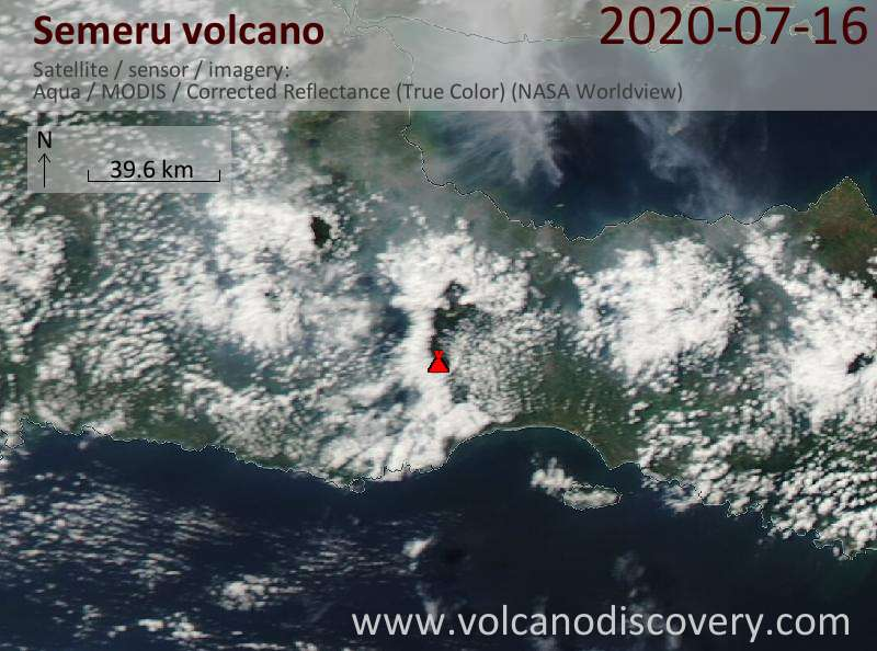 Satellitenbild des Semeru Vulkans am 16 Jul 2020