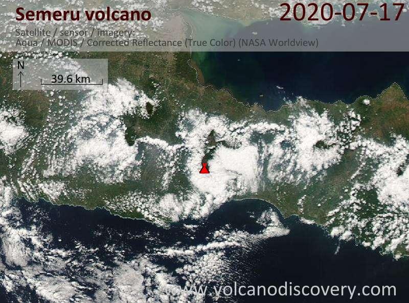 Спутниковое изображение вулкана Semeru 17 Jul 2020