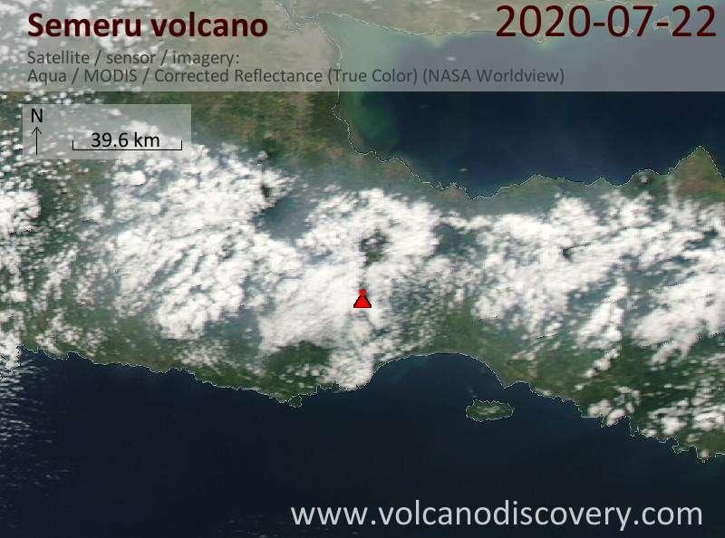 Спутниковое изображение вулкана Semeru 22 Jul 2020