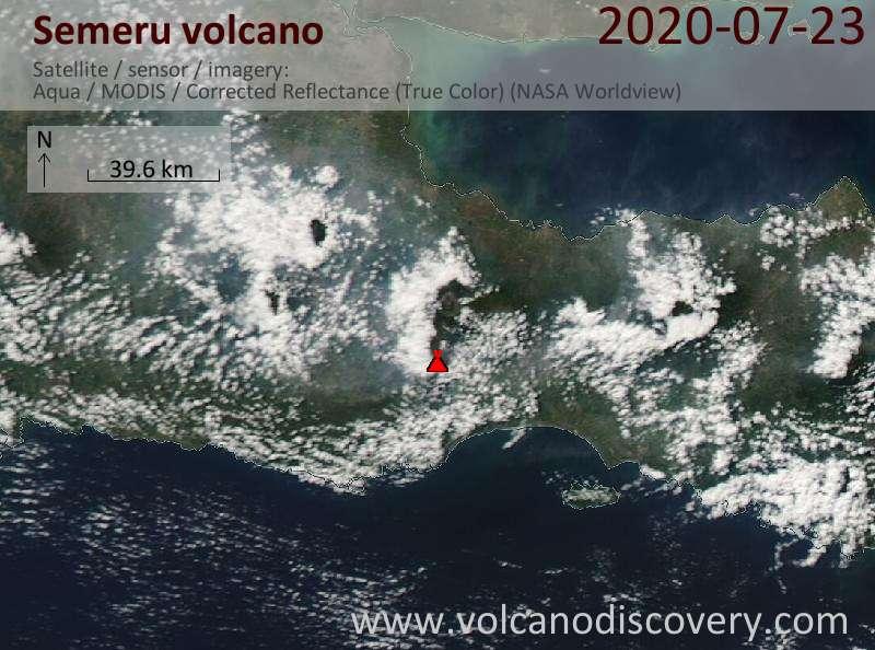 Спутниковое изображение вулкана Semeru 23 Jul 2020