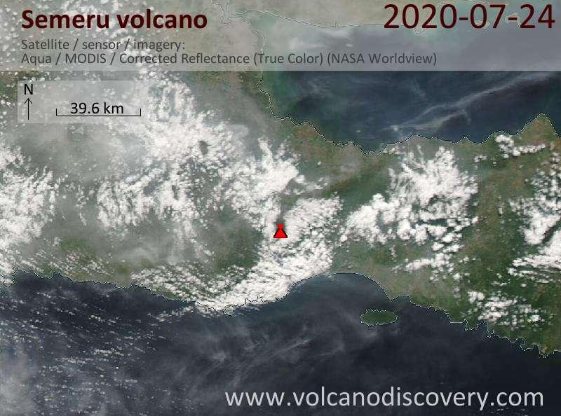 Satellite image of Semeru volcano on 24 Jul 2020