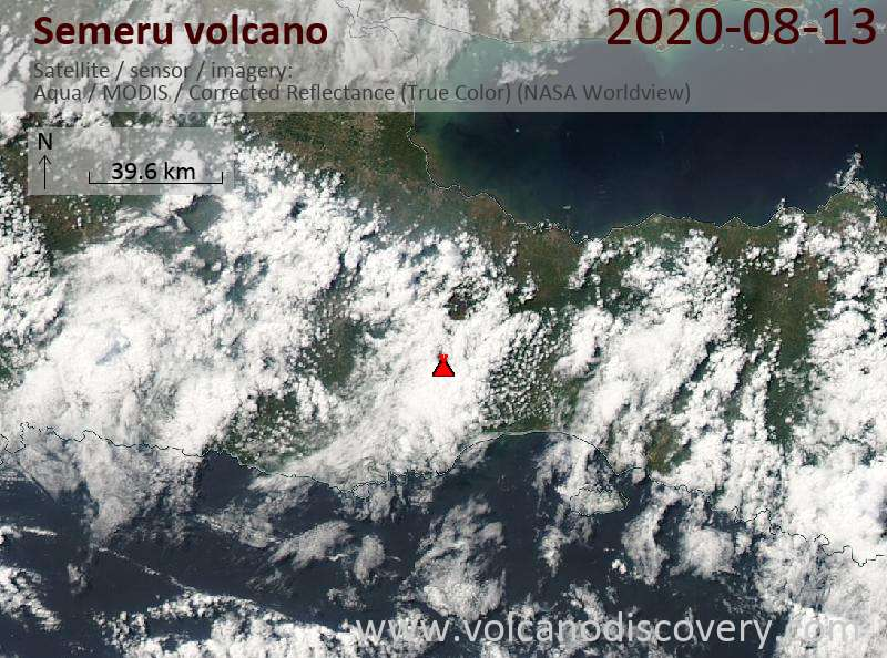Satellite image of Semeru volcano on 13 Aug 2020