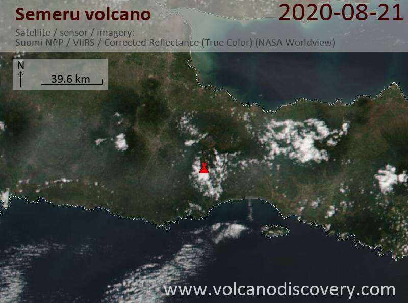 Satellite image of Semeru volcano on 22 Aug 2020