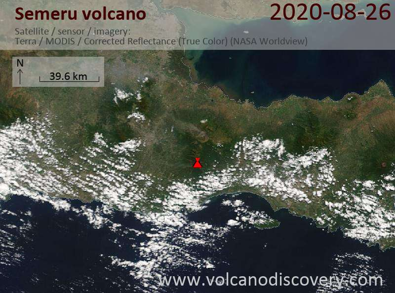 Satellite image of Semeru volcano on 26 Aug 2020
