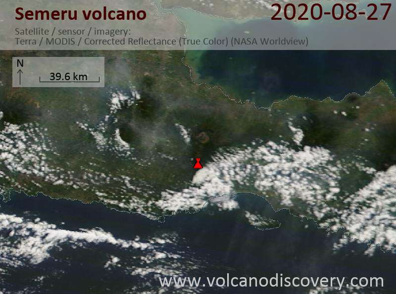 Satellite image of Semeru volcano on 27 Aug 2020
