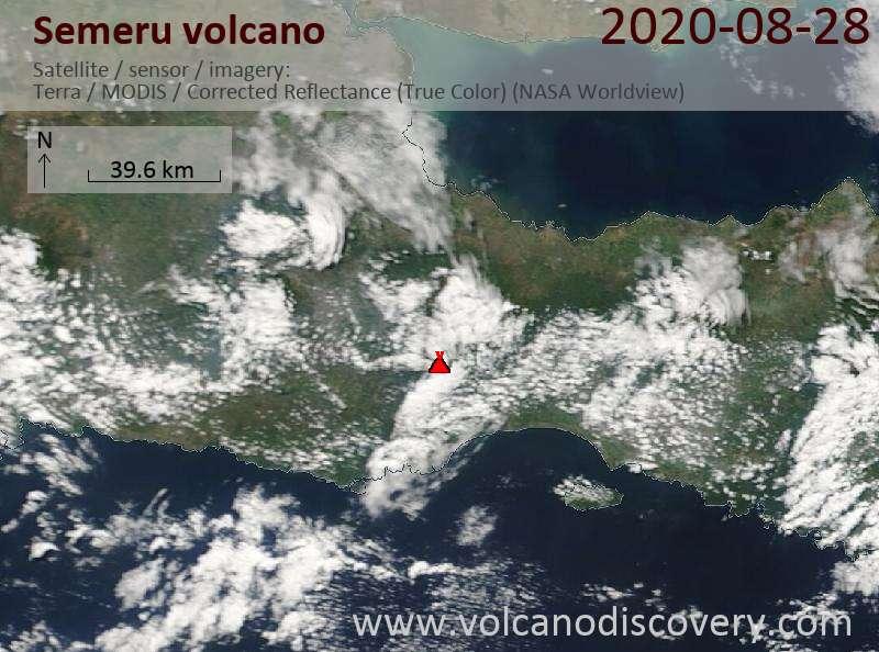Satellite image of Semeru volcano on 28 Aug 2020