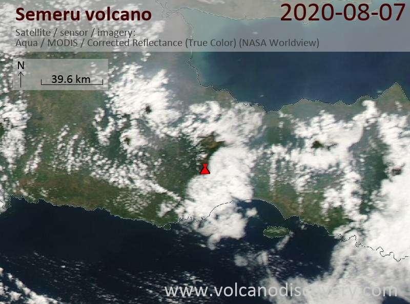 Satellite image of Semeru volcano on  7 Aug 2020