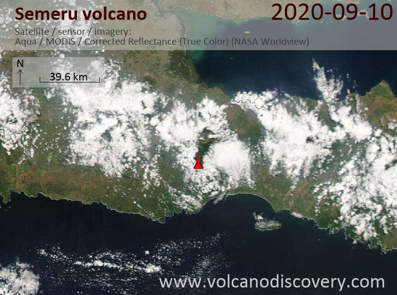 Satellite image of Semeru volcano on 10 Sep 2020