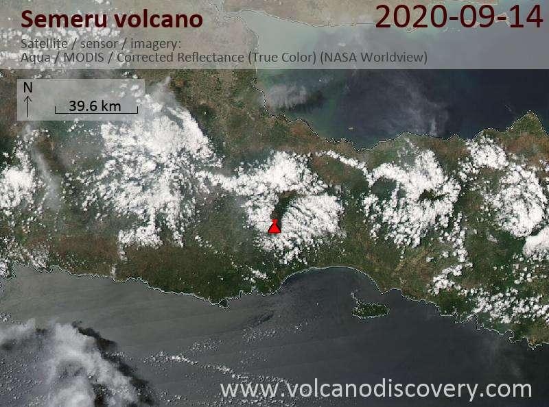 Satellite image of Semeru volcano on 14 Sep 2020
