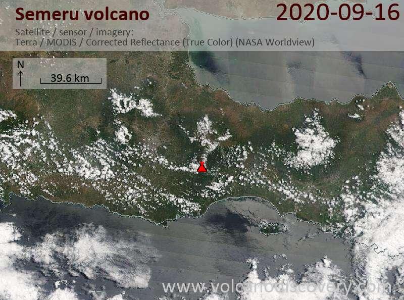 Satellite image of Semeru volcano on 16 Sep 2020