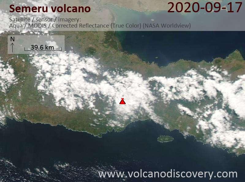 Satellite image of Semeru volcano on 17 Sep 2020