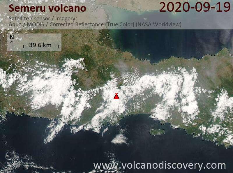 Satellite image of Semeru volcano on 19 Sep 2020