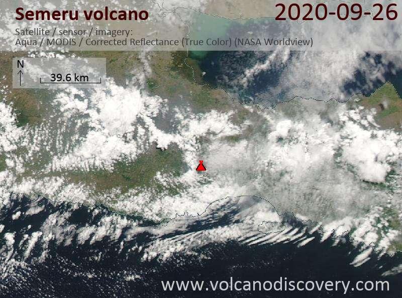 Спутниковое изображение вулкана Semeru 26 Sep 2020