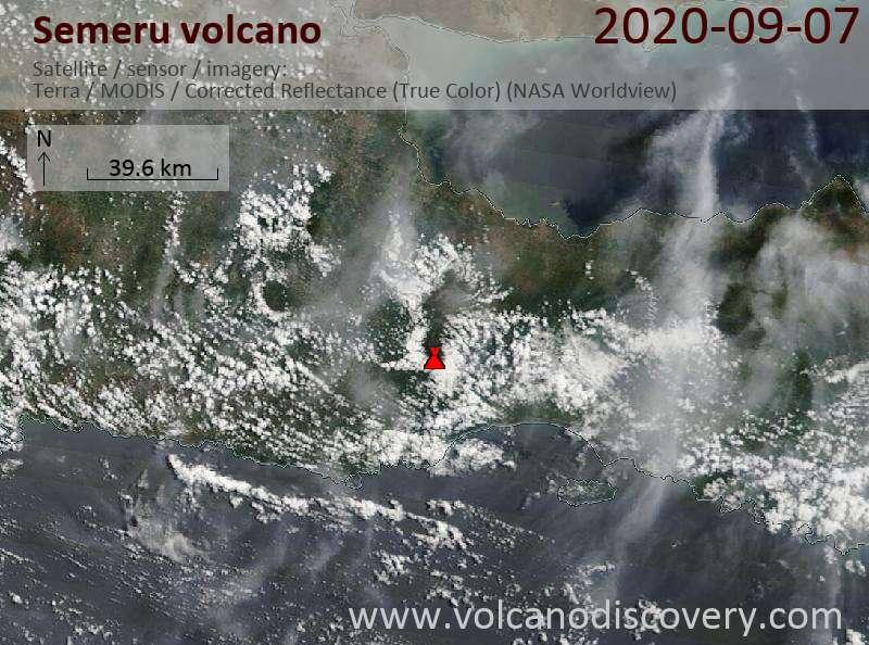 Satellite image of Semeru volcano on  7 Sep 2020