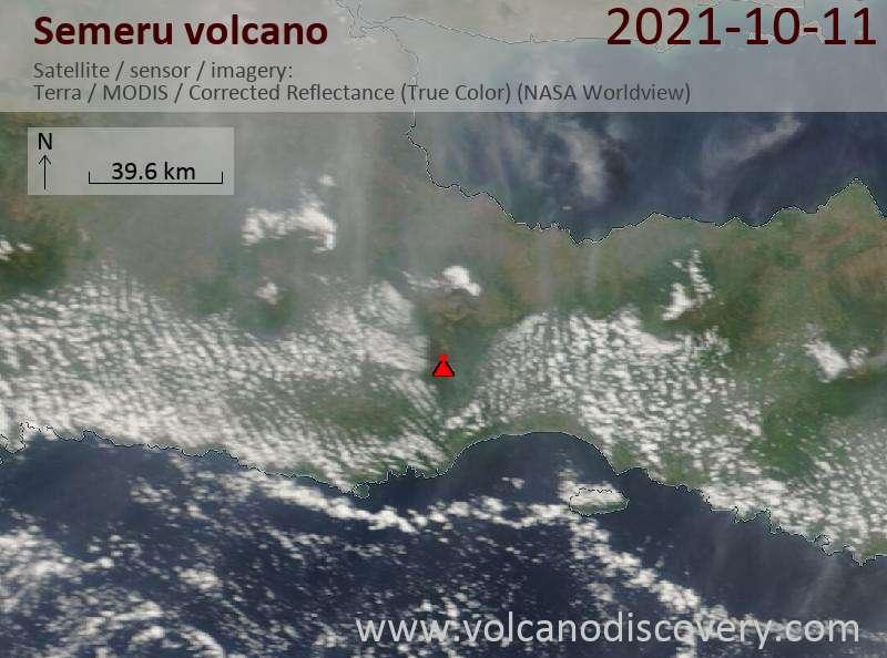 Satellite image of Semeru volcano on 11 Oct 2021