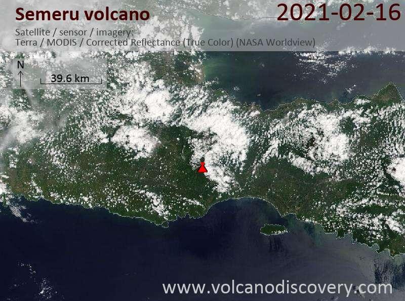 Satellite image of Semeru volcano on 16 Feb 2021