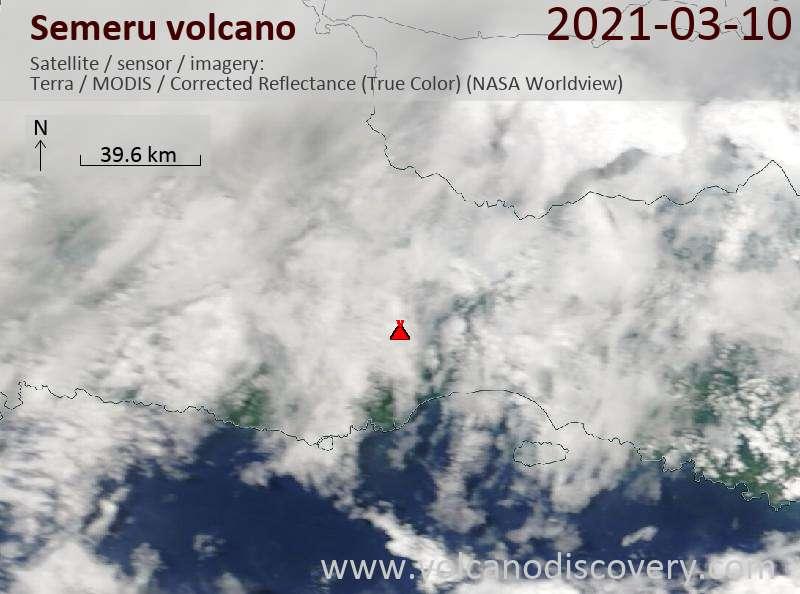 Satellite image of Semeru volcano on 11 Mar 2021