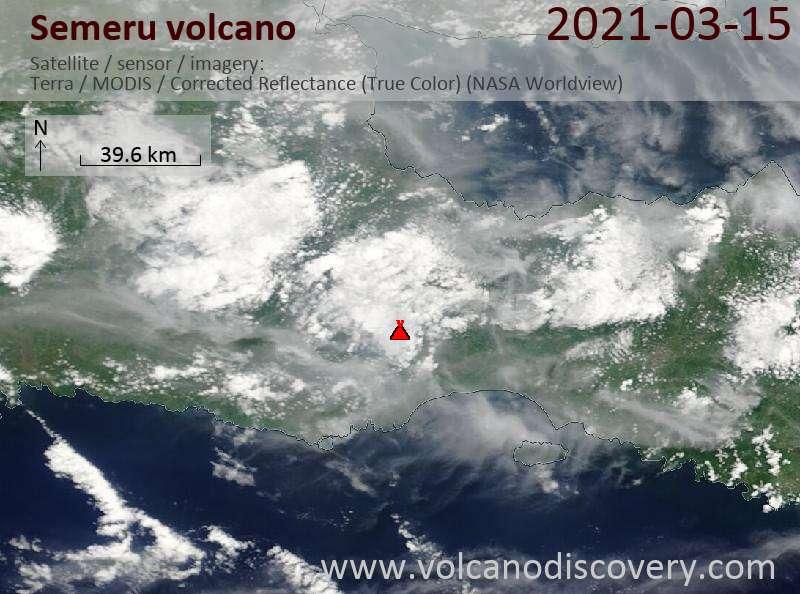 Satellite image of Semeru volcano on 15 Mar 2021
