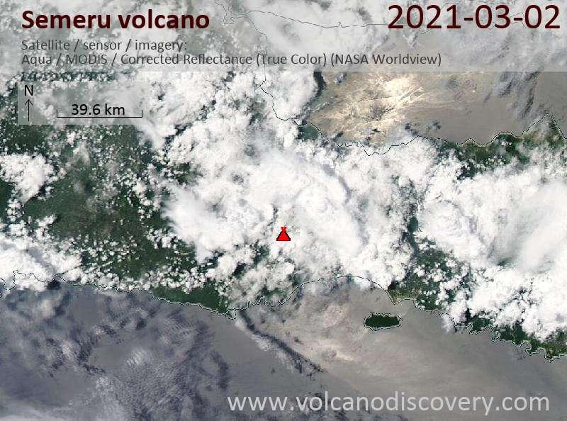 Satellite image of Semeru volcano on  2 Mar 2021
