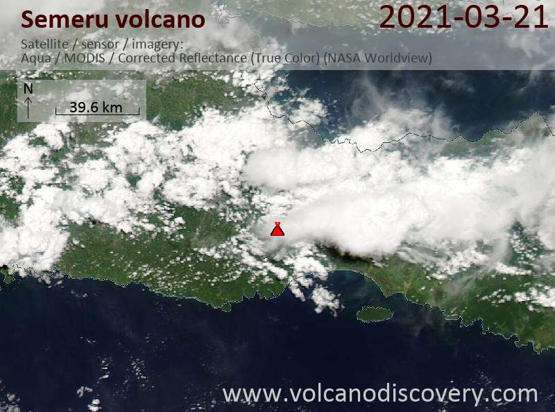 Satellite image of Semeru volcano on 21 Mar 2021