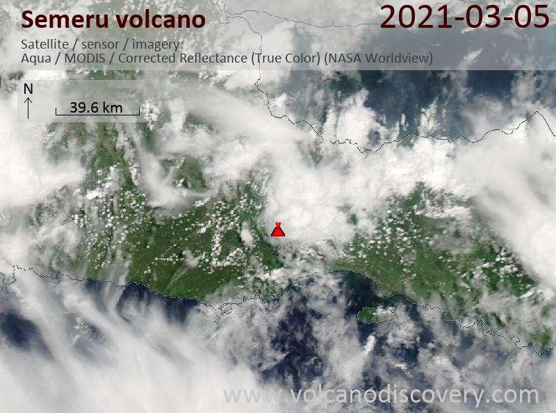 Satellite image of Semeru volcano on  5 Mar 2021