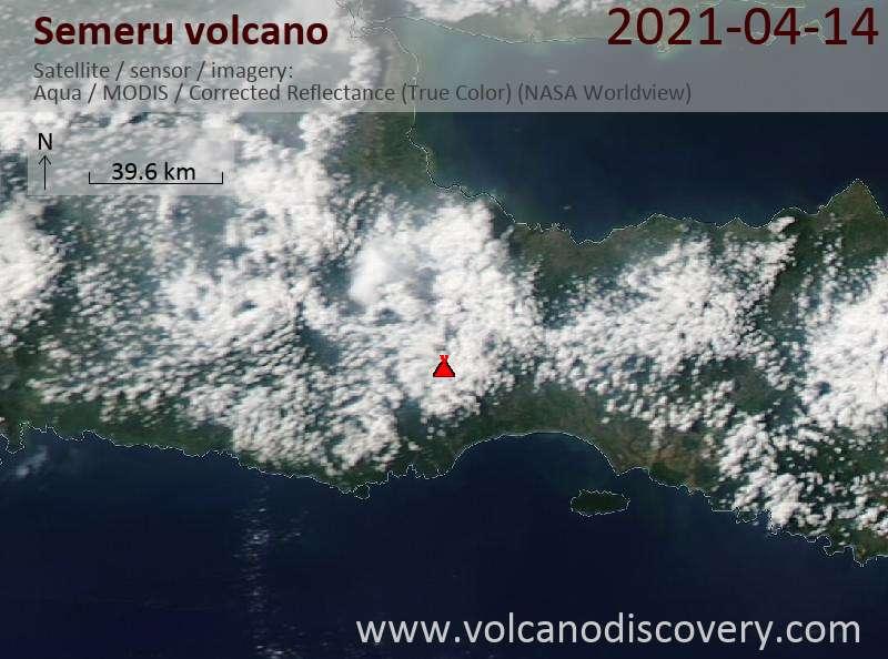 Satellite image of Semeru volcano on 15 Apr 2021