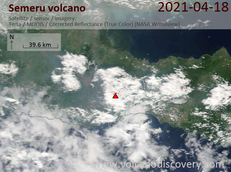 Satellite image of Semeru volcano on 19 Apr 2021