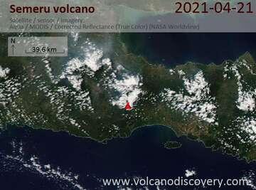 Satellite image of Semeru volcano on 22 Apr 2021