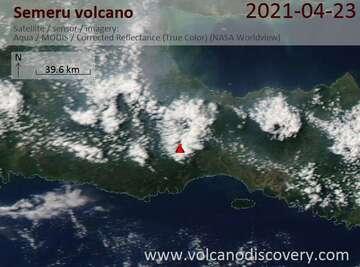 Satellite image of Semeru volcano on 23 Apr 2021
