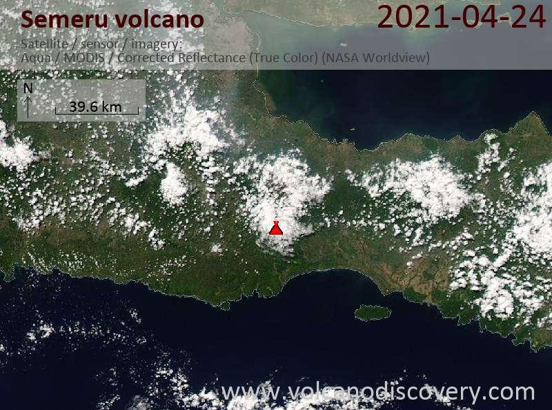 Satellitenbild des Semeru Vulkans am 24 Apr 2021