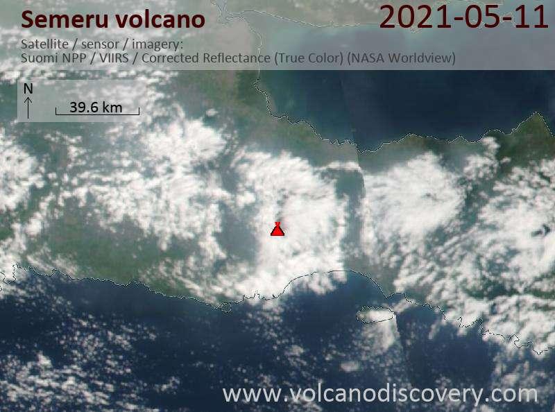 Спутниковое изображение вулкана Semeru 11 May 2021