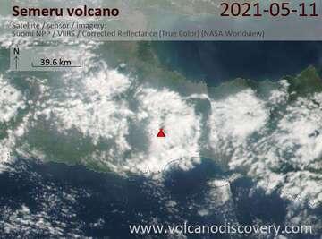 Satellite image of Semeru volcano on 11 May 2021