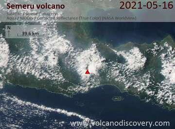 Satellite image of Semeru volcano on 17 May 2021