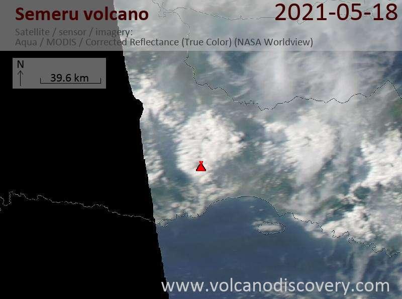 Satellite image of Semeru volcano on 19 May 2021