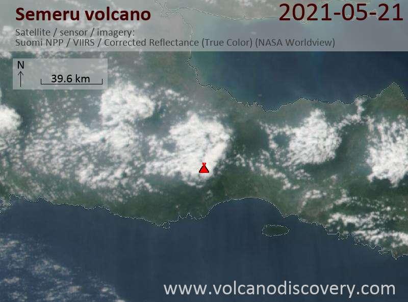 Satellite image of Semeru volcano on 21 May 2021