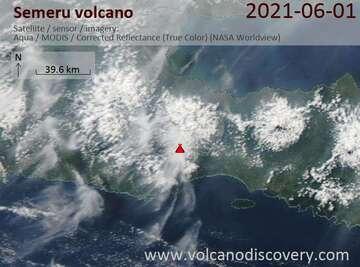 Satellite image of Semeru volcano on 27 May 2021
