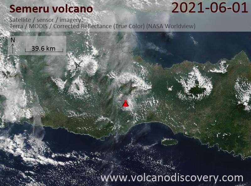 Satellite image of Semeru volcano on  1 Jun 2021