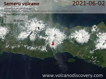 Satellite image of Semeru volcano on  3 Jun 2021