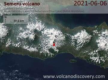 Satellite image of Semeru volcano on  7 Jun 2021