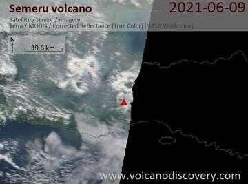 Satellite image of Semeru volcano on  9 Jun 2021