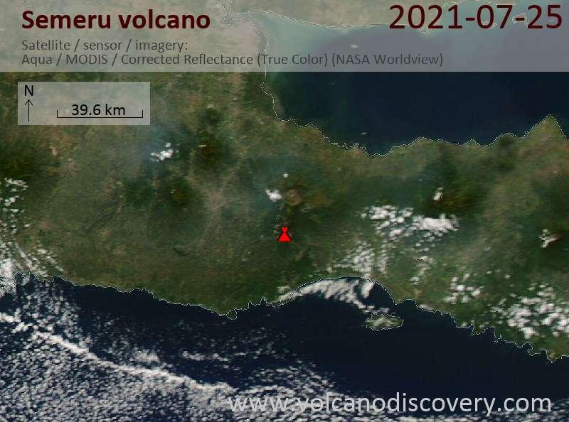 Satellite image of Semeru volcano on 26 Jul 2021