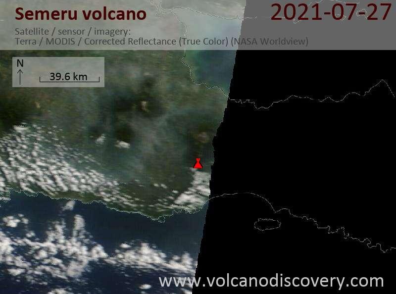 Satellite image of Semeru volcano on 28 Jul 2021