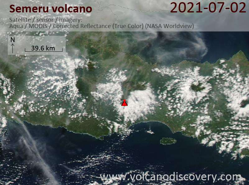 Satellite image of Semeru volcano on  3 Jul 2021