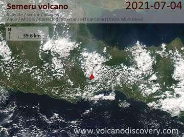 Satellite image of Semeru volcano on  4 Jul 2021
