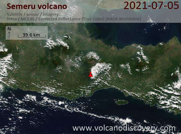 Satellite image of Semeru volcano on  6 Jul 2021