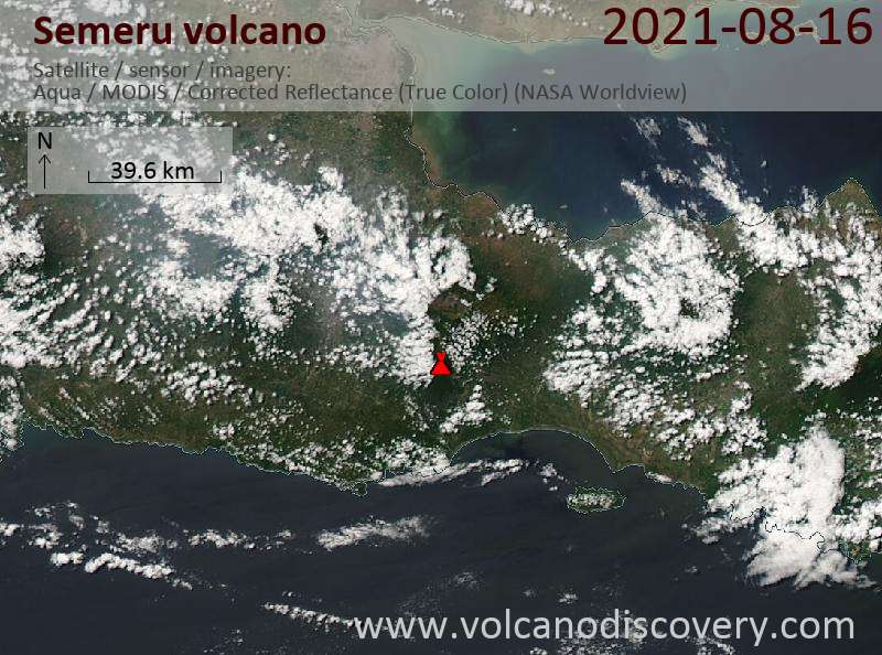 Satellitenbild des Semeru Vulkans am 17 Aug 2021